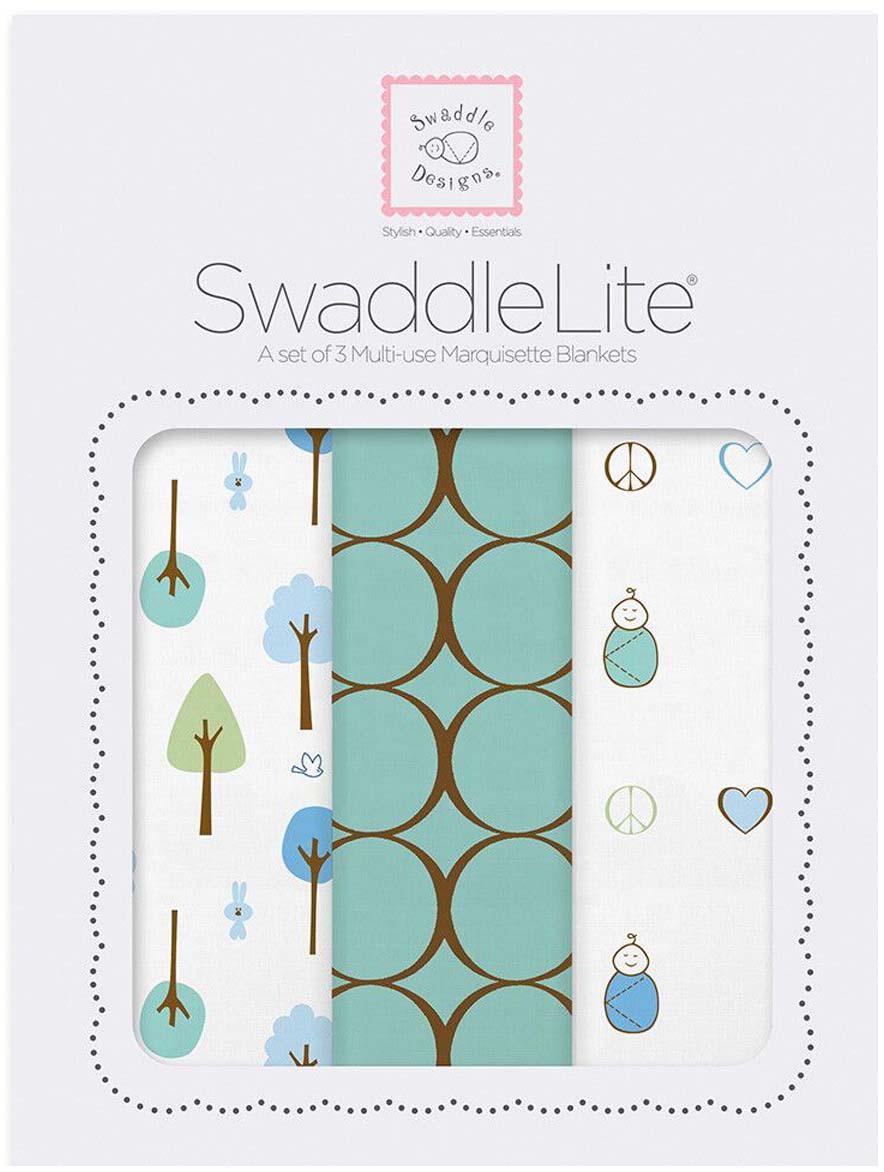 SwaddleDesigns Набор пеленок SwaddleLite Cute & Calm SeaCrystal 3 шт говорим с пеленок 2017 арт 1055
