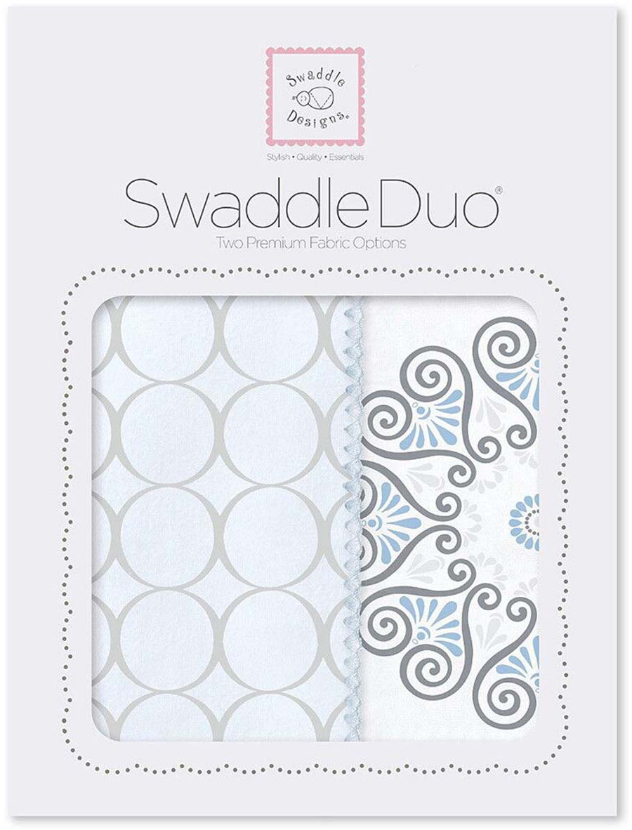 SwaddleDesigns Набор пеленок Swaddle Duo Blue Mod Medallion 2 шт набор пеленок swaddledesigns swaddle duo pstl pink modern