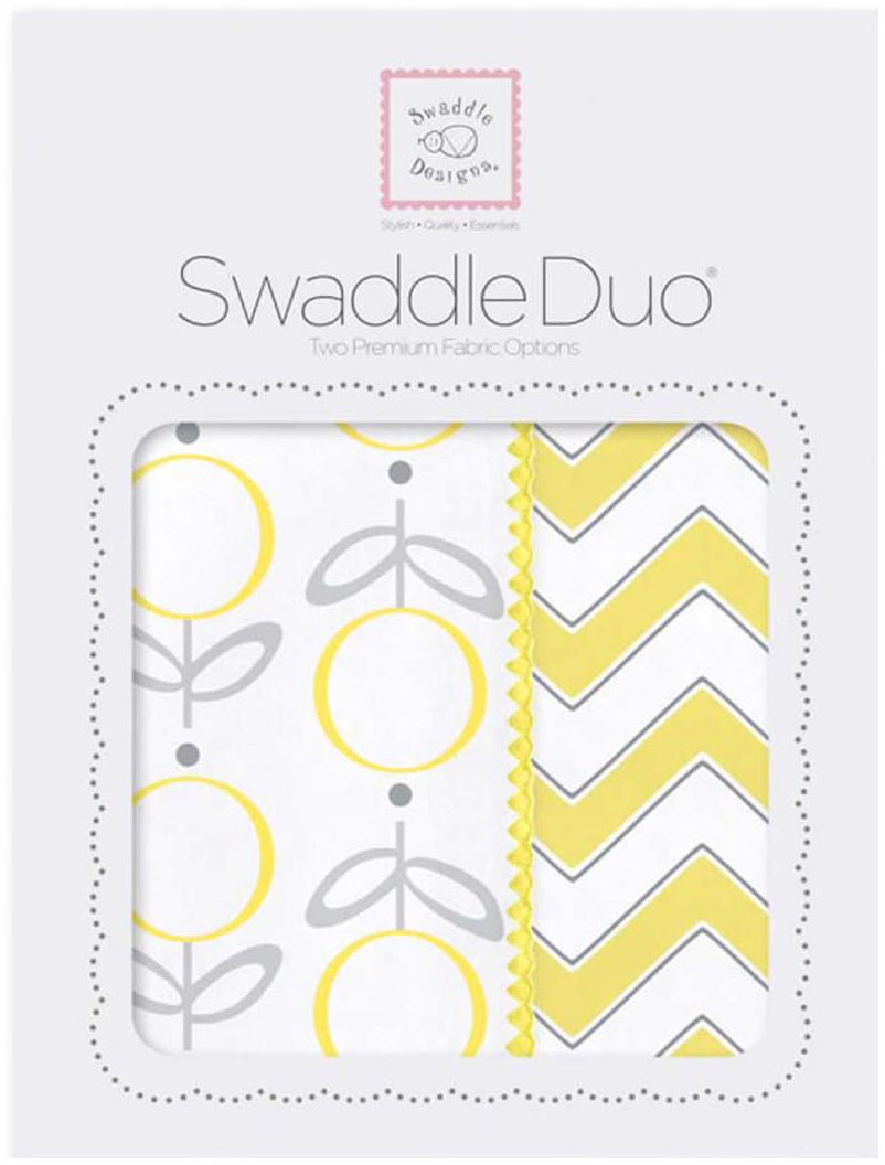 SwaddleDesigns Набор пеленок Swaddle Duo Lolli Chevron Yellow 2 шт говорим с пеленок