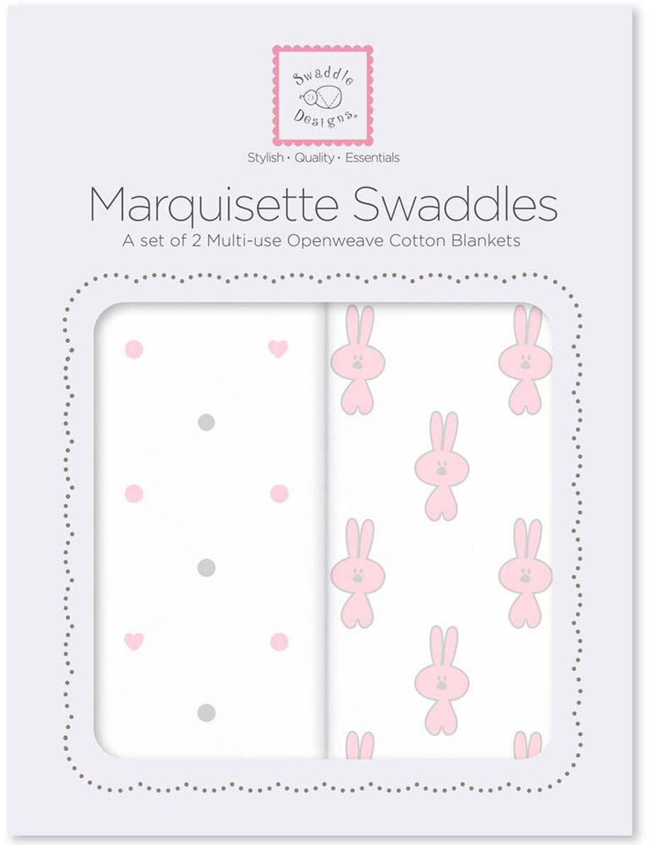 SwaddleDesigns Набор Marquisette Pstl Pink Little Bunnie & Dottie Heart 2 шт