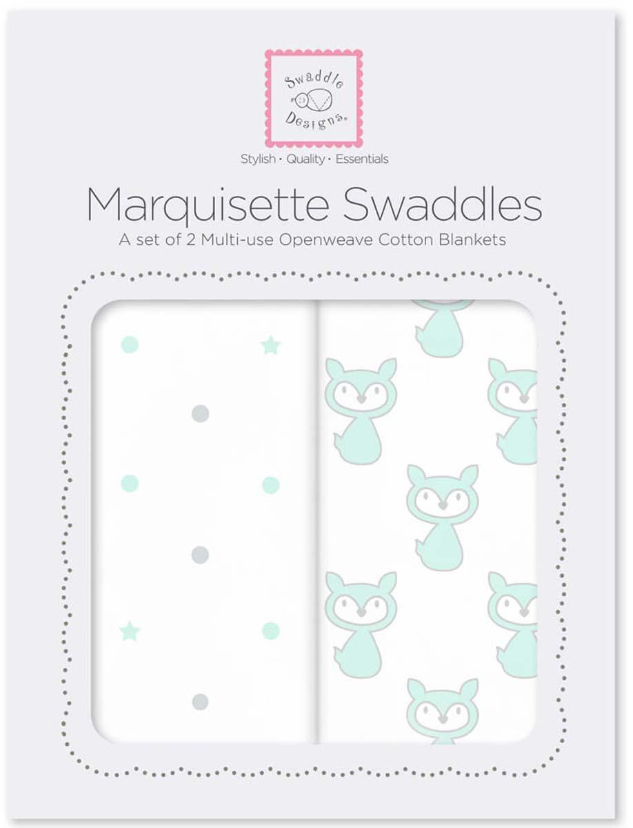 SwaddleDesigns Набор пеленок Marquisette Little Fox Dottie Star 2 шт говорим с пеленок