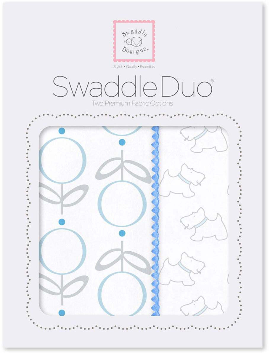 SwaddleDesigns Набор пеленок Swaddle Duo Blue Little Doggie 2 шт набор пеленок swaddledesigns swaddle duo pstl pink modern