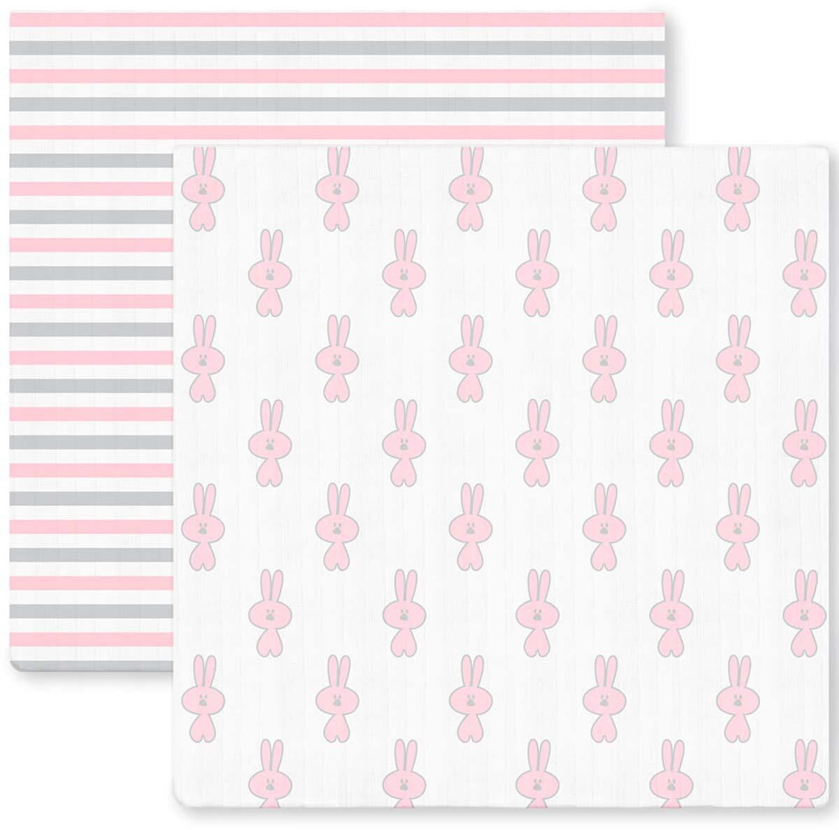SwaddleDesigns Набор пеленок Marquisette Little Bunnie Simple Stripes 2 шт говорим с пеленок