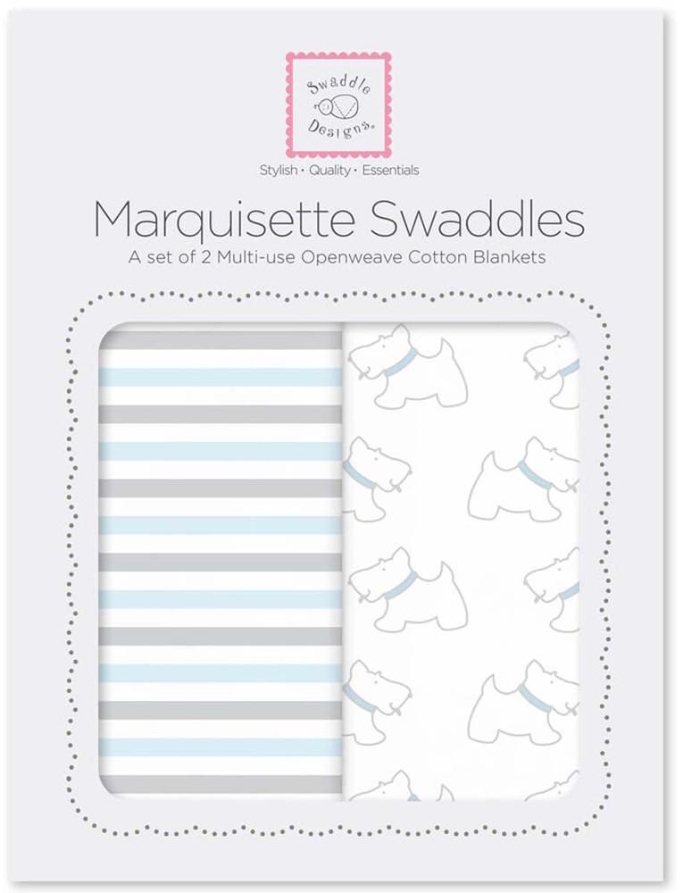 SwaddleDesignsНабор пеленок Marquisette Little Doggie Simple Stripes 2 шт SwaddleDesigns