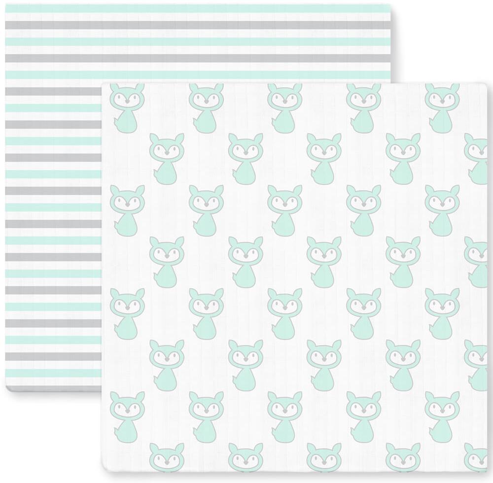 SwaddleDesigns Набор Marquisette Little Fox Simple Stripes 2 шт
