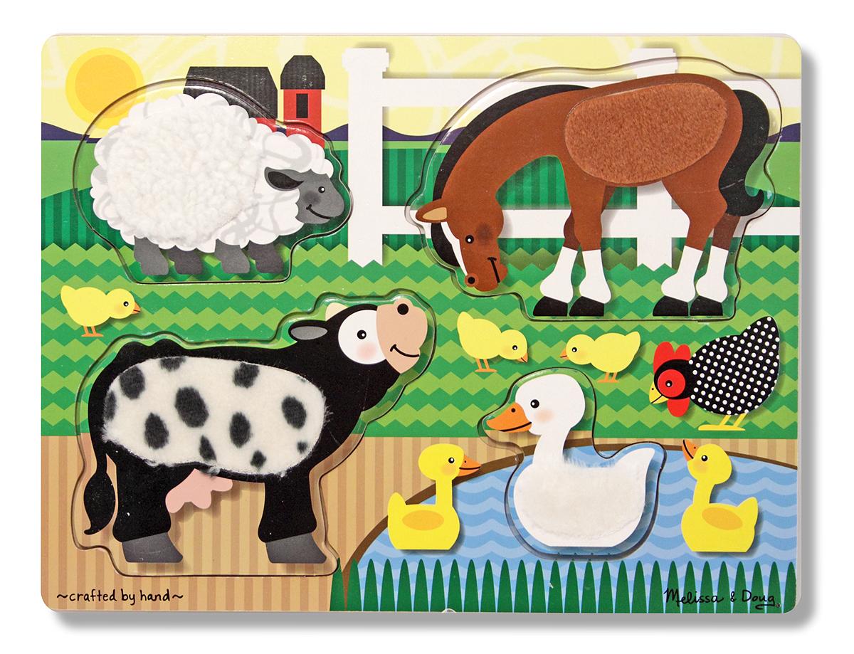 Melissa & Doug Пазл для малышей Мои первые пазлы Потрогай и почувствуй Ферма