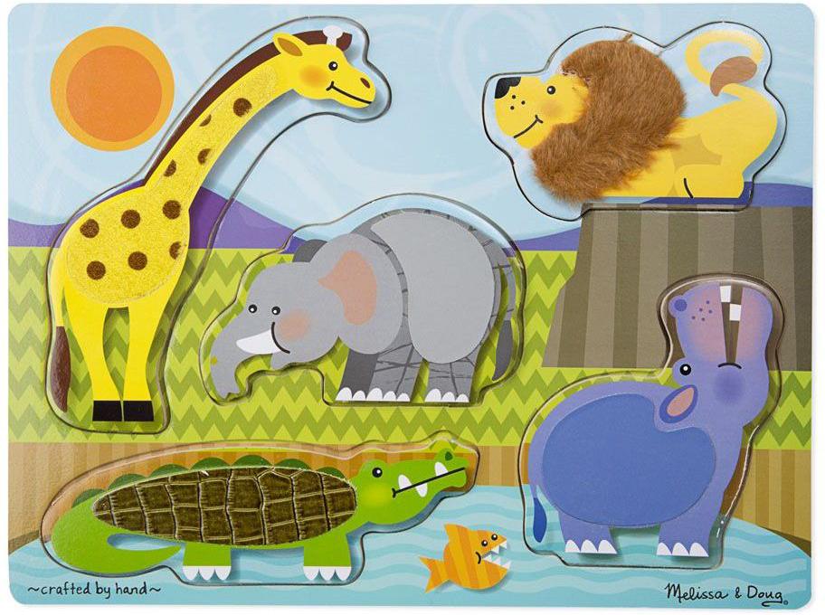 Melissa & Doug Пазл для малышей Мои первые пазлы Потрогай и почувствуй Зоопарк