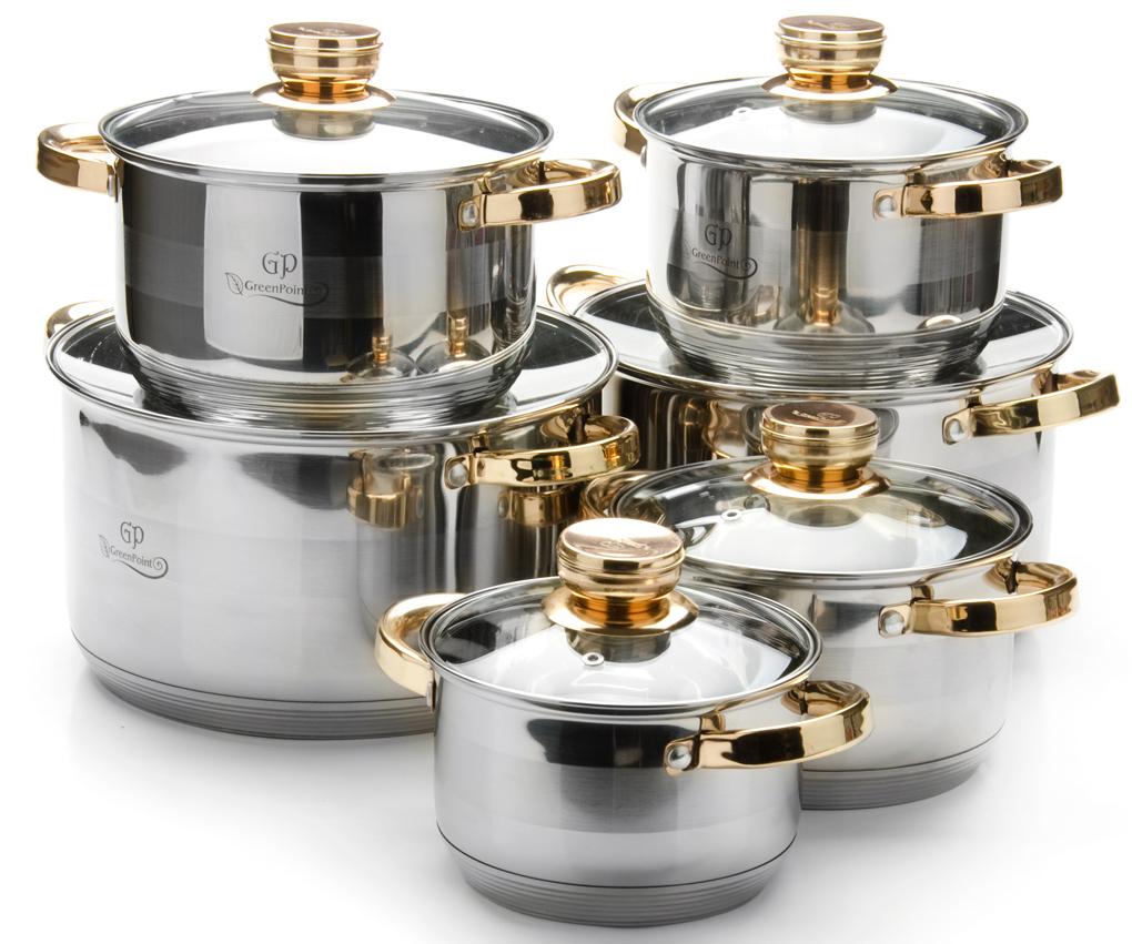 """Набор посуды """"GP"""" выполнен из высококачественной нержавеющей пищевой стали CrNi 18/10 с зеркальной внешней поверхностью. Внутренняя поверхность идеально ровная, что значительно облегчает мытье. Дно быстро и равномерно распределяет тепло. Крышки, выполненные из термостойкого стекла, имеют отверстие паровыпуска и металлический обод. Крышки плотно прилегают к краям посуды, предотвращая проливание жидкости и сохраняя аромат блюд. Также изделия снабжены эргономичными ручками из бакелита. Подходит для использования на всех типах плит, включая индукционные. Подходит для мытья в посудомоечной машине."""