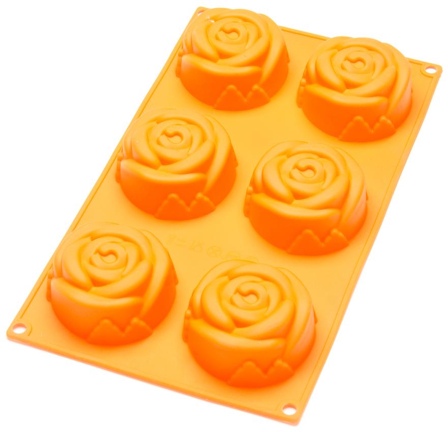"""Форма Mayer & Boch """"Розы"""" позволит приготовить сразу 6 изделий в виде роз, которые поднимут настроение вам и порадуют вашу семью. Форма предназначена для выпечки и заморозки. Стенки формы рельефные. Силиконовые формы для выпечки имеют много преимуществ по сравнению с традиционными металлическими формами и противнями. Они идеально подходят для использования в микроволновых, газовых и электрических печах при температурах до +230°С. В случае заморозки до -40°С. За счет высокой теплопроводности силикона изделия выпекаются заметно быстрее. Благодаря гибкости и антиприлипающим свойствам силикона, готовое изделие легко извлекается из формы. Для этого достаточно отогнуть края и вывернуть форму (выпечке дайте немного остыть, а замороженный продукт лучше вынимать сразу). Силикон абсолютно безвреден для здоровья, не впитывает запахи, не оставляет пятен, легко моется. С такой формой вы всегда сможете порадовать своих близких оригинальной выпечкой."""