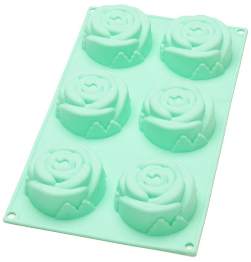 Форма для выпечки Mayer & Boch Розы, силиконовая, цвет: мятный, 6 ячеек. 21978-221978-2Форма Mayer & Boch Розы позволит приготовить сразу 6 изделий в виде роз, которые поднимут настроение вам и порадуют вашу семью. Форма предназначена для выпечки и заморозки. Стенки формы рельефные. Силиконовые формы для выпечки имеют много преимуществ по сравнению с традиционными металлическими формами и противнями. Они идеально подходят для использования в микроволновых, газовых и электрических печах при температурах до +230°С. В случае заморозки до -40°С. За счет высокой теплопроводности силикона изделия выпекаются заметно быстрее. Благодаря гибкости и антиприлипающим свойствам силикона, готовое изделие легко извлекается из формы. Для этого достаточно отогнуть края и вывернуть форму (выпечке дайте немного остыть, а замороженный продукт лучше вынимать сразу). Силикон абсолютно безвреден для здоровья, не впитывает запахи, не оставляет пятен, легко моется. С такой формой вы всегда сможете порадовать своих близких оригинальной выпечкой.