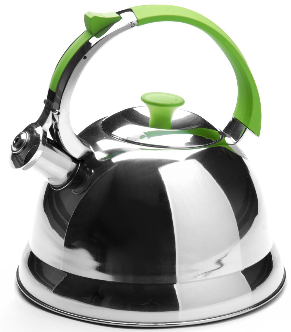 """Чайник """"Mayer & Boch"""", со свистком, цвет: серебристый, салатовый, 2,7 л. 23168-2"""