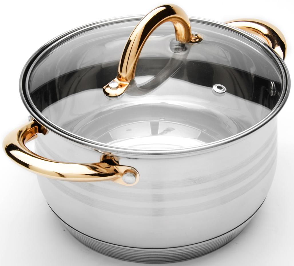 """Кастрюля """"Mayer & Boch"""" изготовлена из высококачественной нержавеющей стали  CrNi 18/10, имеет 7-ми слойное термоаккумулирующее дно с прослойкой из  алюминия, которое обеспечивает равномерное распределение тепла.  Прозрачная крышка, выполненная из термостойкого стекла, позволяет следить за  процессом приготовления пищи. Крышка имеет металлический обод и отверстие  для выпуска пара. Ручки из нержавеющей стали надежно крепятся к корпусу, а  их золотой цвет выигрышно подчеркивает элегантный дизайн. Подходит для  использования на любых видах плит, включая индукционные. Подходит для мытья  в посудомоечной машине. В комплекте 2 предмета: кастрюля, крышка."""