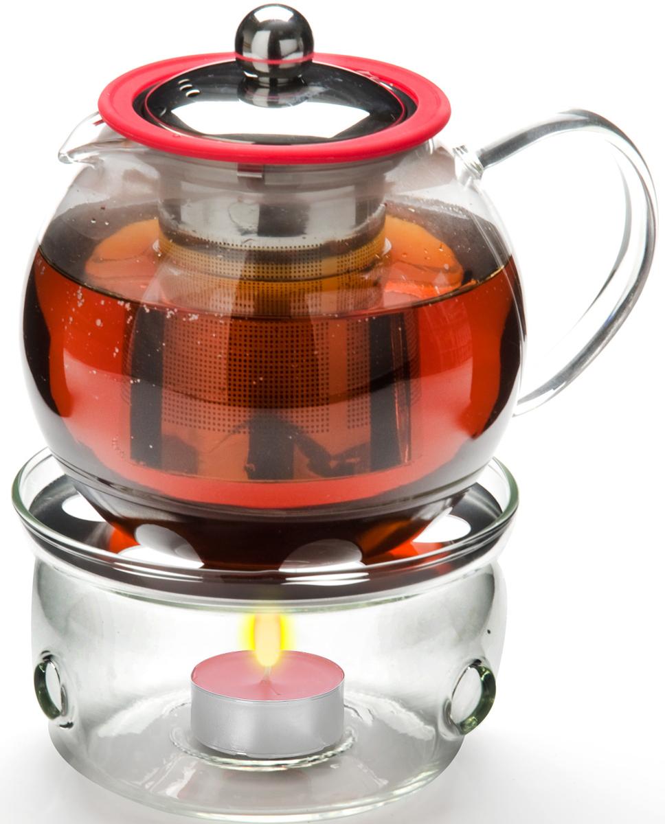"""Заварочный чайник """"Mayer & Boch"""" изготовлен из термостойкого боросиликатного стекла, крышка и фильтр выполнены из нержавеющей стали. Чайник оснащен стеклянной подставкой для подогрева, рассчитанной на одну греющую свечу. Изделия из стекла не впитывают запахи, благодаря чему вы всегда получите натуральный, насыщенный вкус и аромат напитков. Заварочный чайник из стекла удобно использовать для повседневного заваривания чая практически любого сорта, но цветочные, фруктовые, красные и желтые сорта чая лучше других раскрывают свой вкус и аромат при заваривании именно в стеклянных чайниках, а также сохраняют все полезные ферменты и витамины, содержащиеся в чайных листах. Стальной фильтр гарантирует прозрачность и чистоту напитка от чайных листьев, при этом сохранив букет и насыщенность чая. Прозрачные стенки чайника дают возможность насладиться насыщенным цветом заваренного чая. Изящный заварочный чайник """"Mayer & Boch"""" будет прекрасно смотреться в любом интерьере. Не подходит для использования в микроволновой печи. Подходит для мытья в посудомоечной машине."""