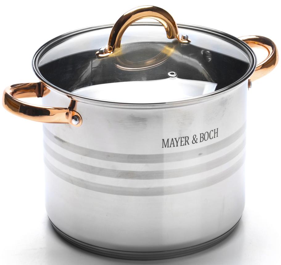 """Кастрюля с крышкой """"Mayer & Boch"""" выполнена из высококачественной нержавеющей стали с многослойным термоаккумулирующим дном, способствующим высокой теплопроводности и равномерному распределению тепла. Нержавеющая сталь обладает высокой устойчивостью к коррозии, не вступает в реакцию с холодными и горячими продуктами и полностью сохраняет их вкусовые качества. Посуда идеальна для приготовления здоровой пищи с минимальным количеством жира, что обеспечивает снижение потери витаминов, минеральных веществ и сохраняет аромат приготовленных блюд. Посуда очень удобна в использовании и элегантна. Крышка выполнена из термостойкого стекла с металлическим ободком и отверстием для выхода пара. Подходит для использования на всех типах плит, включая индукционные. Подходит для мытья в посудомоечной машине."""
