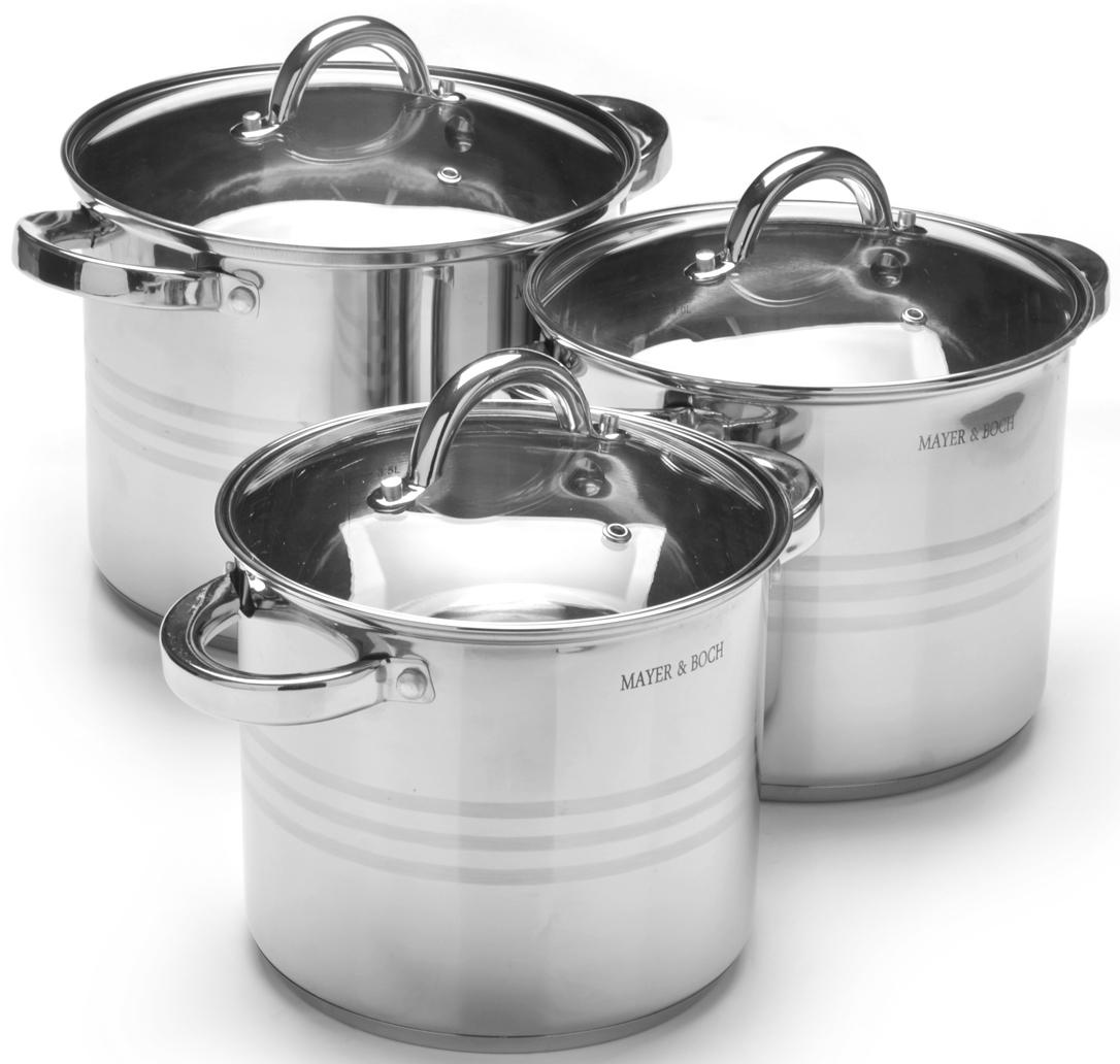 Набор посуды Mayer & Boch, 6 предметов. 2755027550Набор посуды Mayer & Boch выполнен из высококачественной нержавеющей пищевой стали с зеркальной внешней поверхностью. Внутренняя поверхность идеально ровная, что значительно облегчает мытье. Крышки, выполненные из термостойкого стекла, имеют отверстие паровыпуска и металлический обод. Крышки плотно прилегают к краям посуды, предотвращая проливание жидкости и сохраняя аромат блюд. Также изделия снабжены эргономичными стальными ручками. Подходит для использования на всех типах плит, включая индукционные. Подходит для мытья в посудомоечной машине.