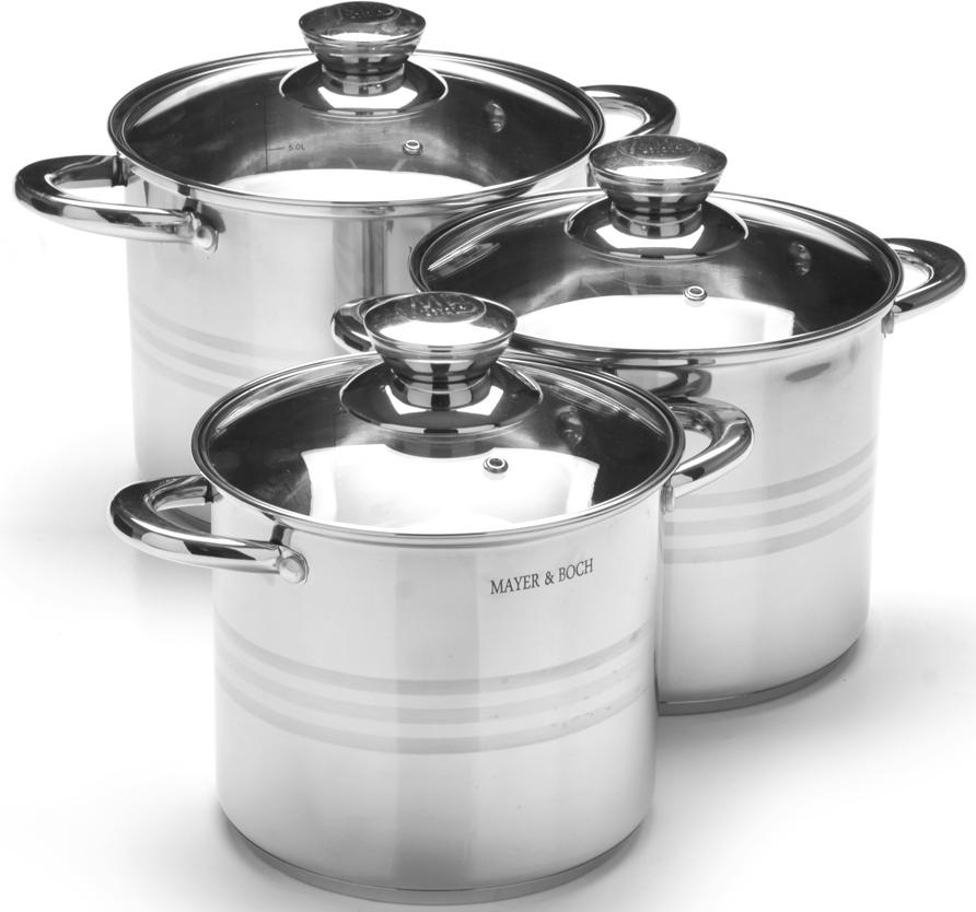 """Набор посуды """"Mayer & Boch"""" выполнен из высококачественной нержавеющей пищевой стали с зеркальной внешней поверхностью. Внутренняя поверхность идеально ровная, что значительно облегчает мытье. Крышки, выполненные из термостойкого стекла, имеют отверстие паровыпуска и металлический обод. Крышки плотно прилегают к краям посуды, предотвращая проливание жидкости и сохраняя аромат блюд. Также изделия снабжены эргономичными стальными ручками. Подходит для использования на всех типах плит, включая индукционные. Подходит для мытья в посудомоечной машине."""