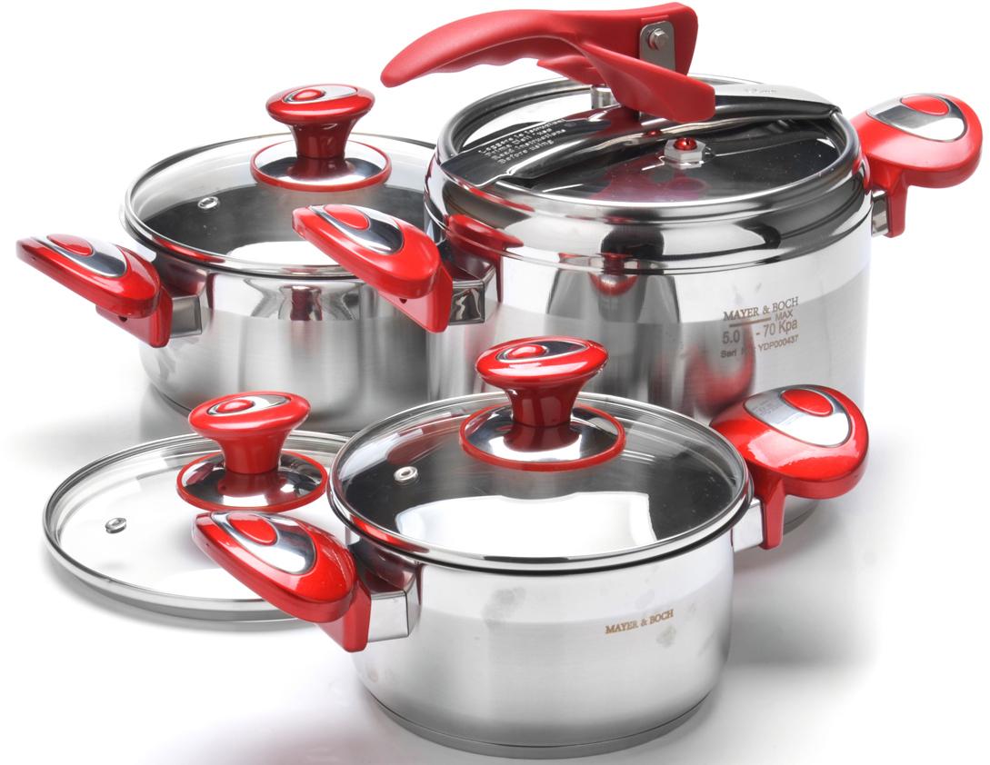 """Набор посуды """"Mayer & Boch"""" изготовлен из высококачественной нержавеющей стали с усиленным индукционным дном. Этот набор кастрюль предназначен для приготовления здоровой пищи. С минимальным количеством масла или с небольшим количеством воды, продукты сохранят большинство полезных веществ, витаминов и минералов, а качественная нержавеющая сталь обеспечит быстрый нагрев продуктов и надолго сохранит тепло. Изделия снабжены крышками из термостойкого стекла с паровыпуском и металлическим ободом, а также удобными не нагревающимися стальными ручками. Внешняя поверхность посуды гладкая с зеркальной полировкой. Изделия легко и просто моются. Подходит для использования на всех типах плит, включая индукционные. Подходит для мытья в посудомоечной машине."""