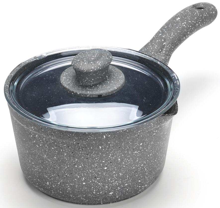 """Ковш с крышкой """"Mayer & Boch"""" изготовлен из литого алюминия, что исключает возможность деформации и гарантирует долгий срок службы. Гладко проточенное, утолщенное дно, обеспечивает идеальный контакт с конфоркой и способствует равномерному разогреванию пищи. Мраморное антипригарное покрытие позволяет готовить, практически не используя растительное масло, что значительно увеличивает полезность приготовляемой еды. Бакелитовая ручка ковша не нагревается и оснащена отверстием для подвеса на крючок. В комплект также входит крышка из жаропрочного стекла с пароотводом. Подходит для всех видов плит, кроме индукционных. Подходит для мытья в посудомоечной машине."""