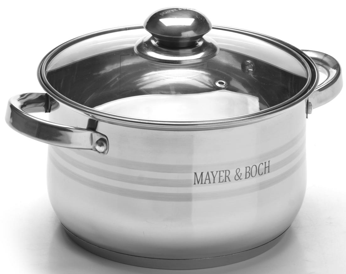 """Кастрюля """"Mayer & Boch"""" изготовлена из высококачественной нержавеющей стали CrNi 18/10, имеет 7-ми слойное термоаккумулирующее дно с прослойкой из алюминия, которое обеспечивает равномерное распределение тепла. Прозрачная крышка, выполненная из термостойкого стекла, позволяет следить за процессом приготовления пищи. Крышка имеет металлический обод и отверстие для выпуска пара.Ручки из нержавеющей стали надежно крепятся к корпусу. Подходит для использования на любых видах плит, включая индукционные. Подходит для мытья в посудомоечной машине."""