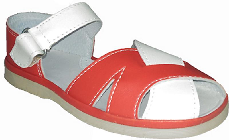 Сандалии для девочки Римал, цвет: красный, белый. 3153. Размер 28