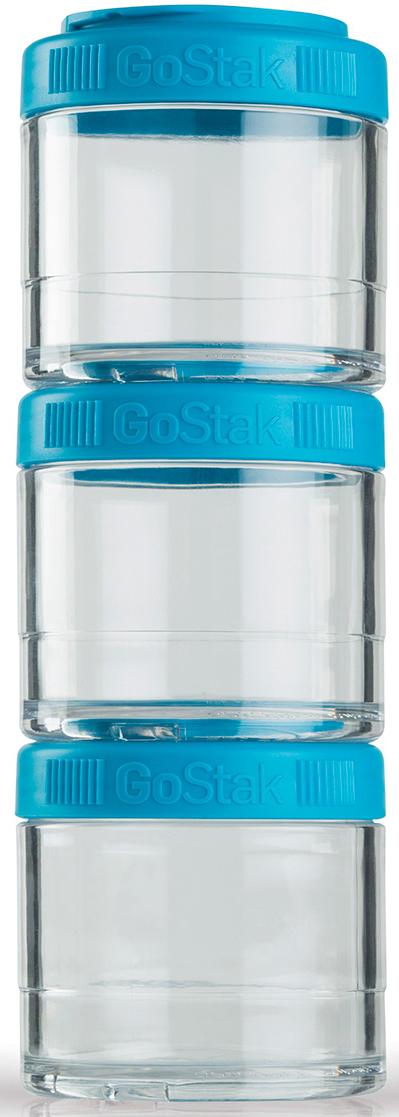 Контейнер спортивный BlenderBottle GoStak, цвет: голубой, 100 мл, 3 шт