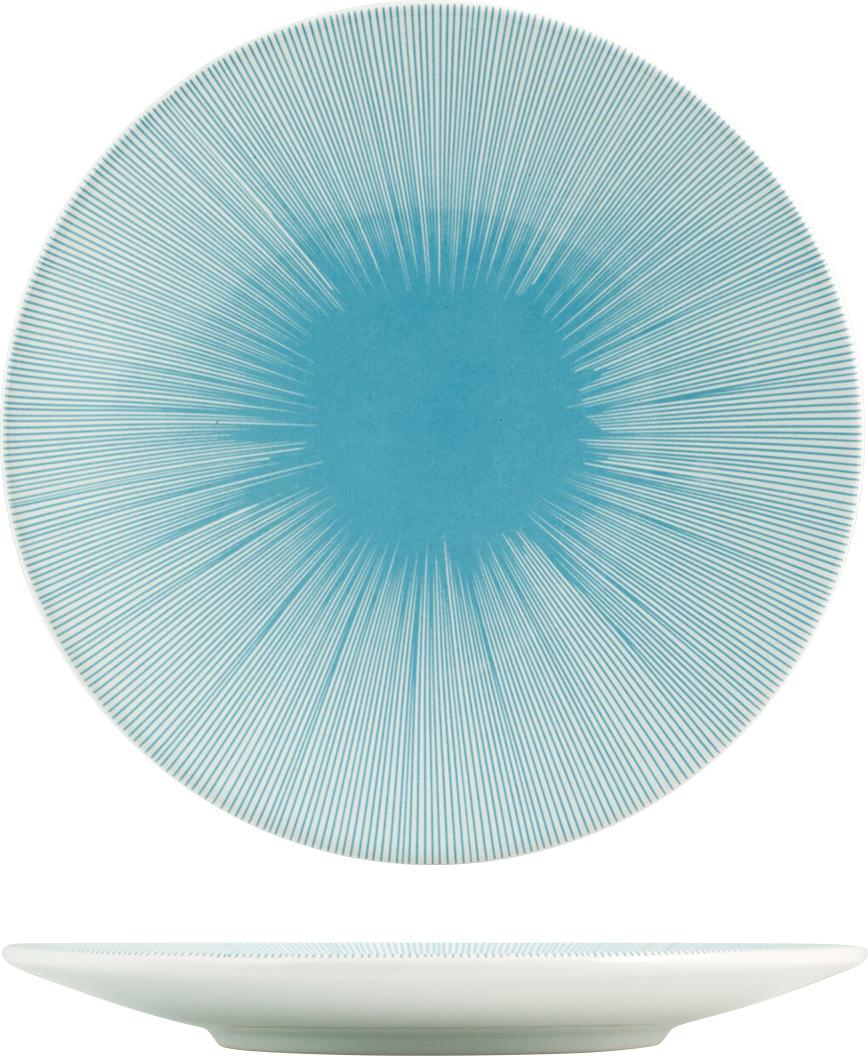 Тарелка десертная H&H Лазурь, цвет: синий, диаметр 20 см тарелка десертная sango ceramics аделаида бордо диаметр 22 см