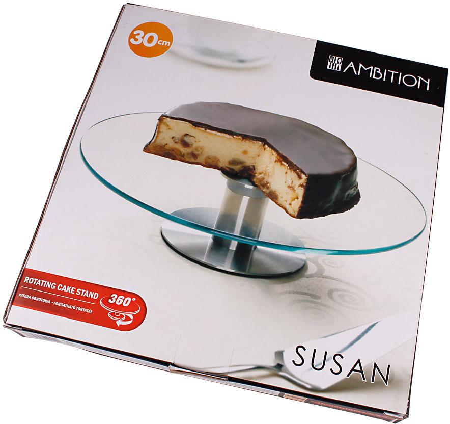 Невозможно подать на стол без специальной подставки, которая не только украшает сервировку, но и облегчает разделку торта. В этом плане удобнее всего вращающаяся подставка для торта. Вращающаяся подставка облегчает деление торта на порции. Подставка для торта может использоваться для простой подачи на стол, для демонстрации кондитерского изделия. Кроме того, вращая подставку с установленном на ней коржами, проще декорировать торт при изготовлении.