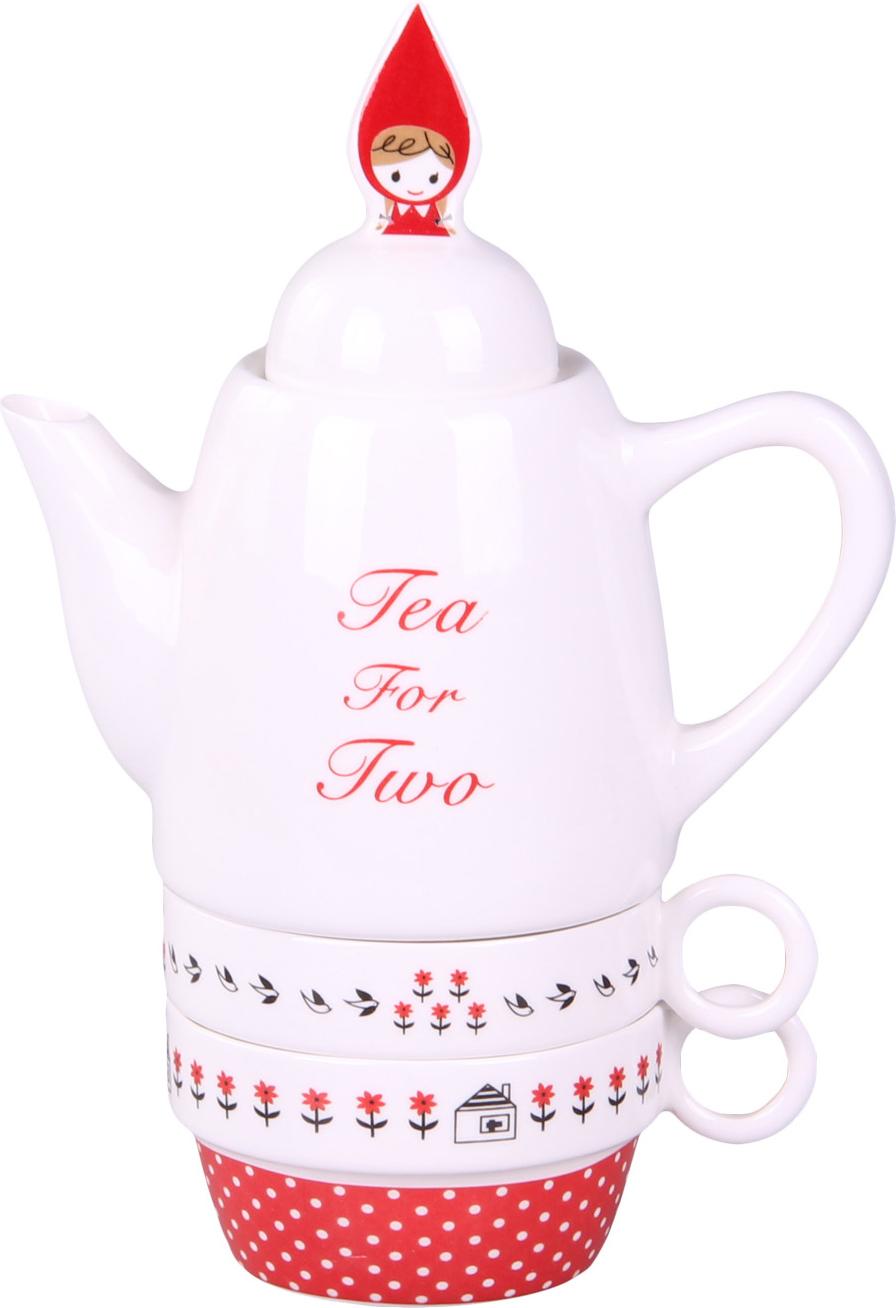 """Чайный набор """"Patricia"""" выполнен из керамики высокого качества. Такой набор станет прекрасным дополнением любого стола.Чайник: высота 22 см, объем 500 мл.Чашка: объем 180 мл. Не использовать абразивные вещества. Ручная мойка."""