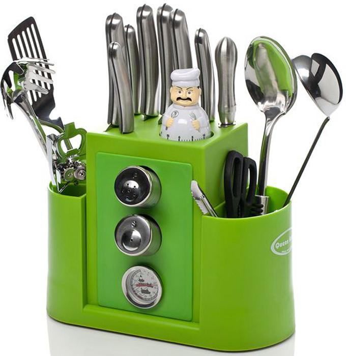 Набор кухонных принадлежностей Queen Ruby, цвет: зеленый, серебристый, 20 предметов