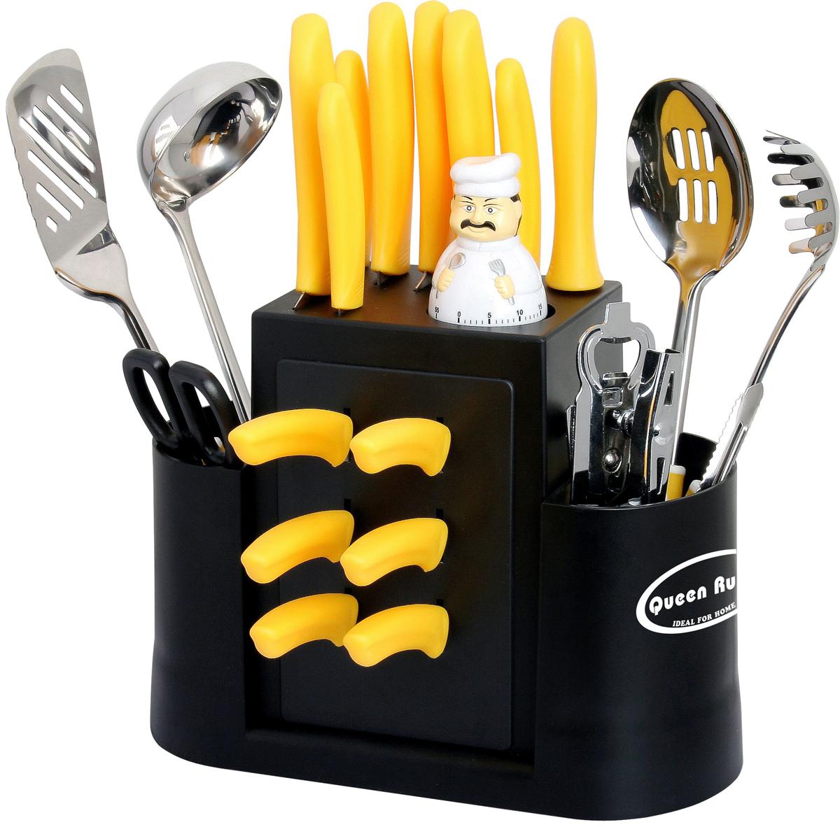 """Набор кухонных принадлежностей """"Queen Ruby"""" состоит из 23 предметов, выполненных изнержавеющей сталь.В наборе: - Ножницы кухонные; - Консервный нож; - Мясоразделочный нож; - Нож для хлеба; - Поварской нож; - Нож универсальный; - Нож для резки овощей; - Сервисные ножи; - Нож гибкий для чистки овощей; - Мусат; - Таймер; - Ножницы кухонные; - Консервный нож; - Открывалка; - Нож для удаления кожуры и шелухи; - Лопатка с прорезами; - Ложка для спагетти; - Большая ложка с прорезями."""
