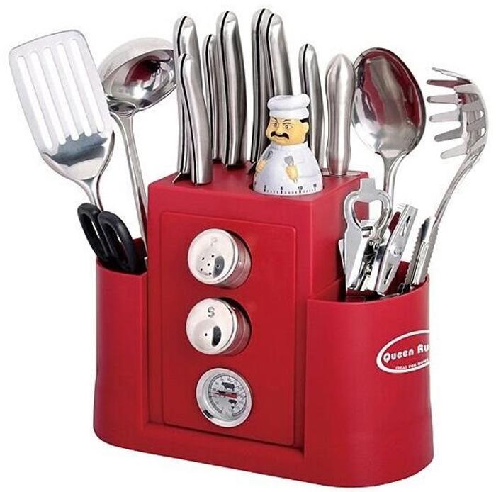"""Набор кухонных принадлежностей """"Queen Ruby"""" состоит из 20 предметов, выполненных изнержавеющей стали.В составе: - ножницы кухонные; - консервный нож; - открывалка; - нож для удаления кожуры и шелухи; - лопатка с прорезами; - ложка для спагетти; - большая ложка; - глубокий половник для супа; - баночки для пряностей – 2 шт; - таймер; - термометр для мяса; - мясоразделочный нож; - нож для хлеба; - поварской нож; - нож универсальный; - нож для резки овощей; - сервисные ножи; - нож гибкий для чистки овощей; - мусат; - пластиковая подставка."""