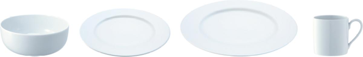 Набор состоит из кружки, миски, закусочной и обеденной тарелки. Набор идеален для сервировки завтраков и ланчей. Он прекрасно подойдет для ежедневного использования и станет отличным подарком на любой праздник. Dine — коллекция фарфоровой посуды, сочетающей в себе классику и современный дизайн. В линейке представлены тарелки, чашки, блюдца, миски, блюда, заварочные чайники, сахарницы, масленки, молочники и другие предметы для изысканной сервировки. Все элементы коллекции можно комбинировать между собой в зависимости от случая. Изделия из фарфора можно использовать в микроволновой печи и мыть в посудомоечной машине.