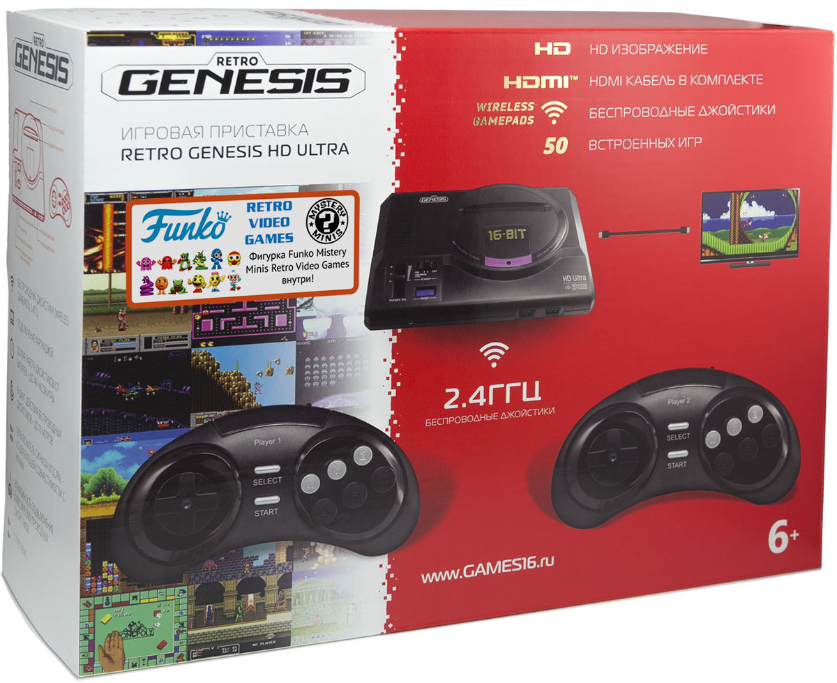 Sega Retro Genesis HD Ultra игровая приставка (50 игр, HDMI) + фигурка Funko Mistery Minis Retro Video Games sega