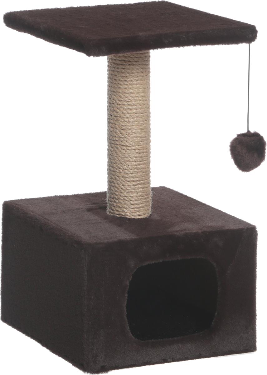 Дом для кошек Зооник, цвет: темно-коричневый, 34 х 34 х 60 см