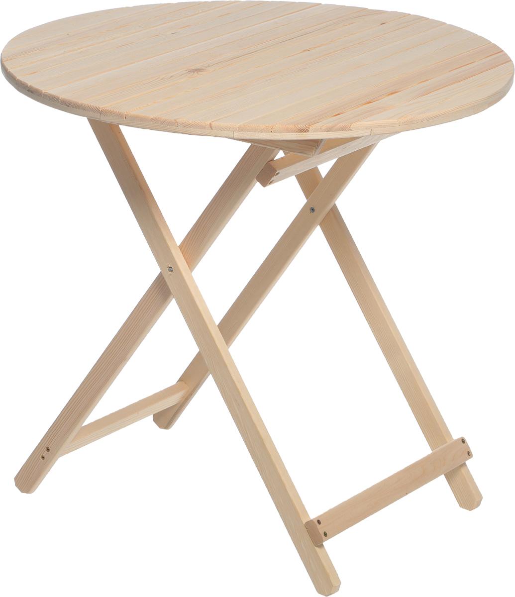 Стол складной Банные штучки для бани и сауны, круглый, большой, цвет: светлое дерево