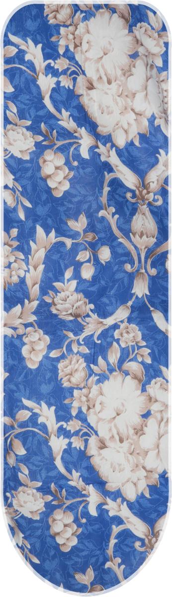 Чехол для гладильной доски Eva, с поролоном, цвет: синий, коричневые цветы 120 х 38 см чехол для гладильной доски paterra цветы с поролоном цвет кремовый сиреневый 146 х 55 см