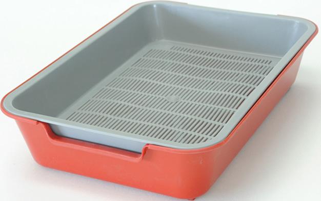 Туалет для кошек HomeCat, с сеткой, на ножках, цвет: красный, 37 х 27 х 8 см