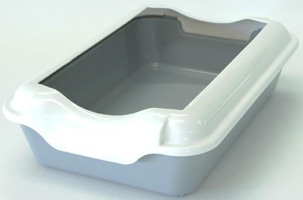 Туалет для кошек HomeCat, с бортиком, цвет: серый, 37 х 27 х 11,5 см туалет homecat малый овальный голубой в комплекте с совком для кошек 43х31х16 см
