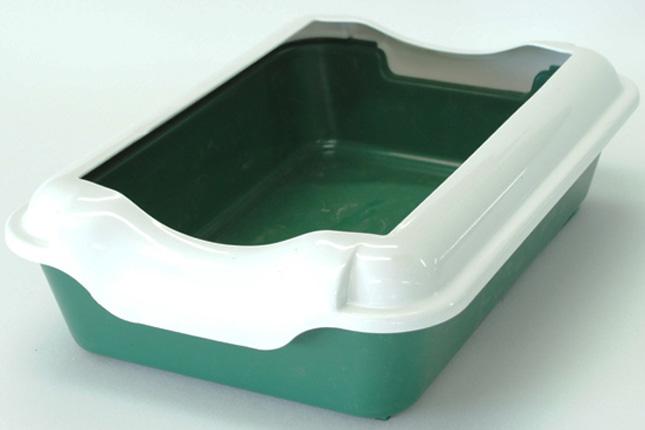 Туалет для кошек HomeCat, с бортиком, цвет: зеленый, 37 х 27 х 11,5 см