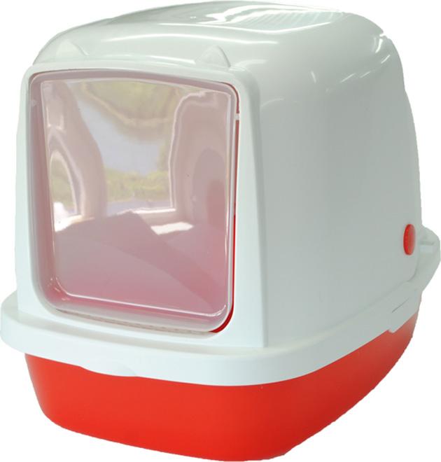 Туалет-домик HomeCat, для кошек и собак мелких пород, цвет: красный перламутр, 53 х 39 х 48 см туалет homecat малый овальный голубой в комплекте с совком для кошек 43х31х16 см