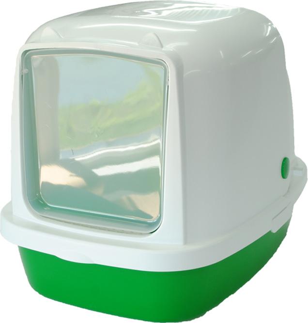 Туалет-домик HomeCat, для кошек и собак мелких пород, цвет: зеленый перламутр, 53 х 39 х 48 см туалет для кошек curver pet life закрытый цвет кремово коричневый 51 х 39 х 40 см