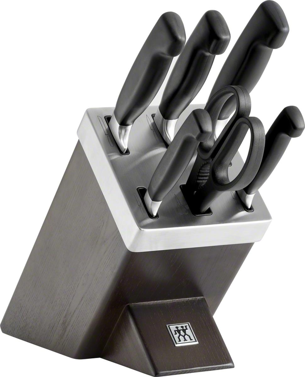 """Набор ножей Zwilling """"Four Star"""" применяется для резки твердых и мягких продуктов (овощи, фрукты, мясо). Не использовать для рубки костей и разделывания замороженных продуктов!Ножи изготовлены из высококачественной нержавеющей стали, рукоятка покрыта пластиком.Советы по уходу:Мыть теплой водой с применением жидкого моющего средства, вытирать насухо. Смывать кислоты после резки овощей и фруктов сразу после использования. Использовать специальную разделочную поверхность(деревянную или пластиковую).Использовать только по назначению! Не использовать в качестве открывалки или отвертки, не ронять на пол, не класть на горячие конфорки и иные источники интенсивного тепла, не резать замороженные продукты.В набор ножей входят: нож для овощей 100 мм, нож для нарезки 200 мм, нож поварской 200 мм, нож хлебный 200 мм, нож универсальный 130 мм, ножницы, подставка."""