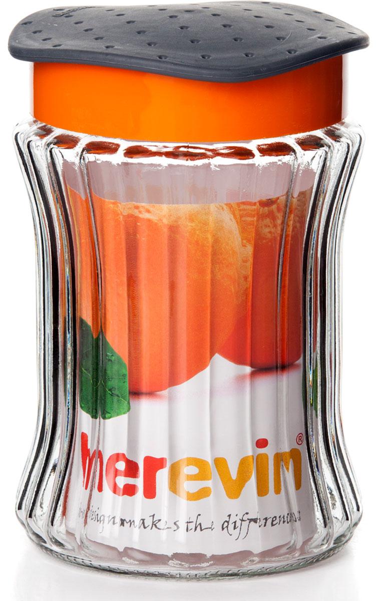 Банка для сыпучих продуктов Herevin, резная, цвет: оранжевый, 1,25 л банка для сыпучих продуктов bohmann кольца цвет розовый оранжевый 2 3 л