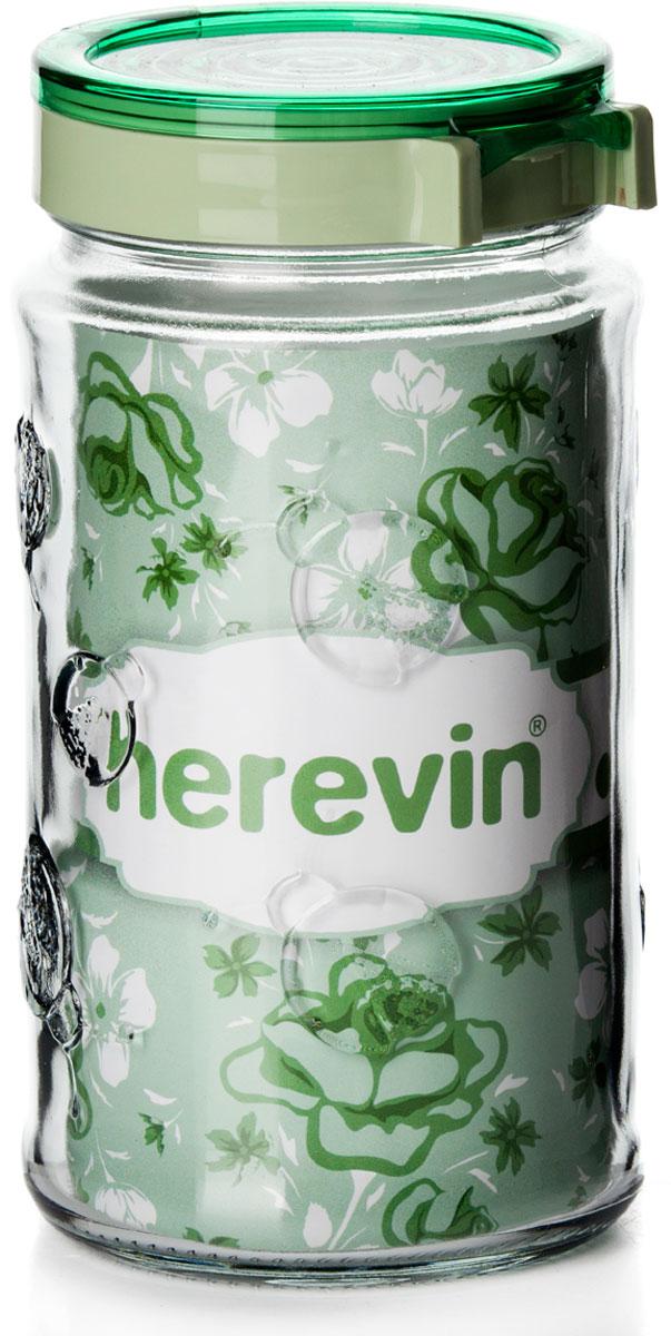 """Банка для сыпучих продуктов """"Herevin"""", изготовленная из прочного стекла. Банка оснащена плотно закрывающейся пластиковой крышкой. Благодаря этому внутри сохраняется герметичность, и продукты дольше остаются свежими. Изделие предназначено для хранения различных сыпучих продуктов: круп, чая, сахара, орехов. Функциональная и вместительная, такая банка станет незаменимым аксессуаром на любой кухне. Можно мыть в посудомоечной машине. Пластиковые части рекомендуется мыть вручную."""