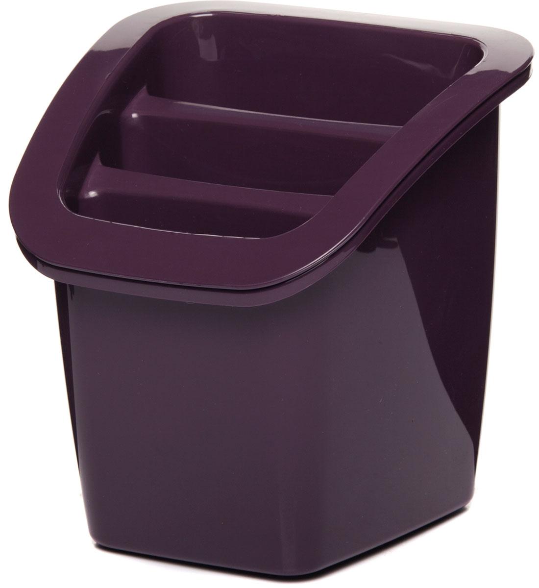 """Подставка для столовых приборов """"Herevin"""", выполненная из прочного пластика, состоит из двух частей - верхняя съемная. Изделие имеет 3 продолговатые секции для хранения различных столовых приборов. Внизу секции оснащены отверстиями для стока жидкости. Такая подставка не только позволит аккуратно хранить столовые приборы, но и красиво дополнит интерьер кухни."""