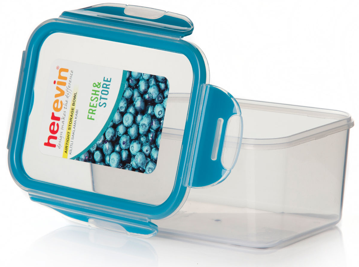 Контейнер для продуктов Herevin, с крышкой, цвет: голубой, 1,25 л дорожка 900 1500мм