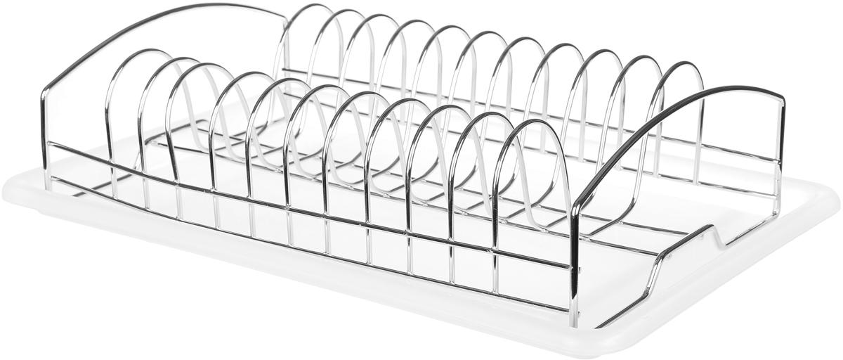 """Металлическая сушилка """"Мультидом"""" используется для сушки и хранения  разнообразных тарелок и кухонных принадлежностей.  Комплектуется пластиковым поддоном для сбора влаги, что создает  дополнительное удобство и практичность в уходе.   Размер поддона: 38 х 25 см. Размер сушилки: 33 х 20,5 х 9 см."""