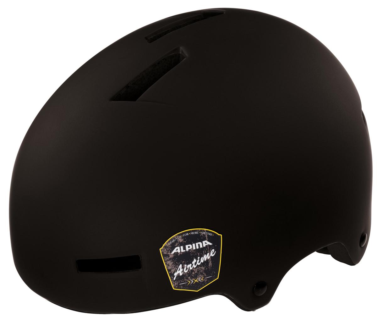 """Велошлем Alpina """"Airtime"""" - отличный шлем для паркового катания. Жесткая пластиковая скорлупа устойчива к многократным ударам, свежая графика и съемный козырек.  Технологии: Сeramic shell, Run System Classic. Количество вентиляционных отверстий: 12."""