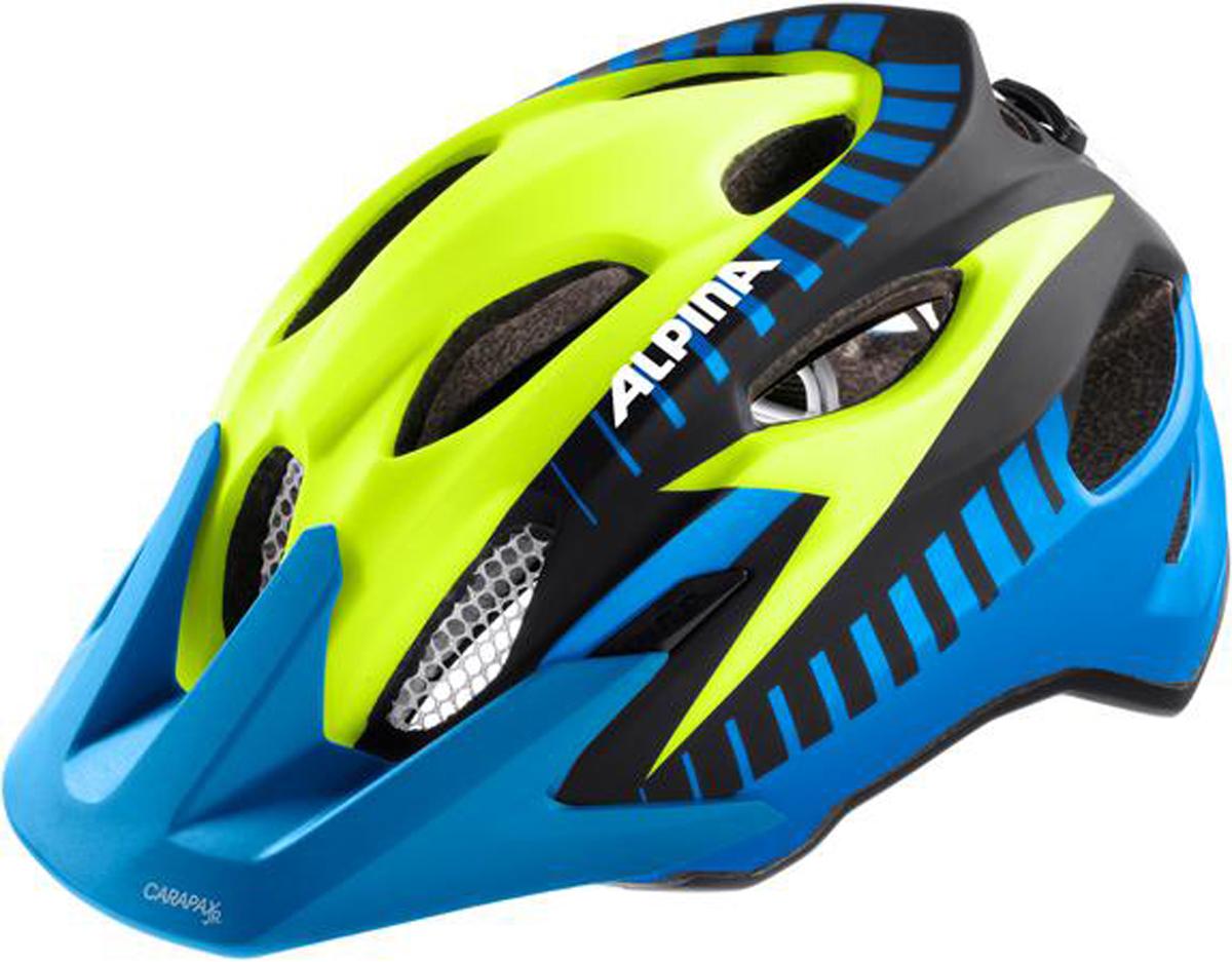 Велошлем Alpina Carapax Jr. Flash, цвет: синий, желтый, черный. Размер 51-56 см