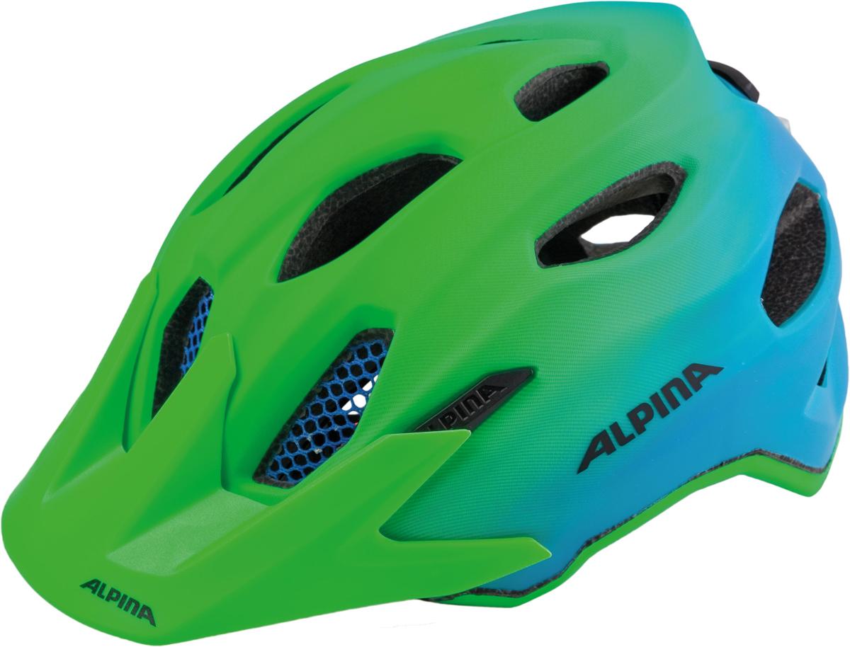 Велошлем Alpina Carapax Jr. Flash, цвет: зеленый, синий. Размер 51-56 см